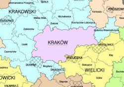 zanieczyszczenie krakowa - mapa przyległych gmin