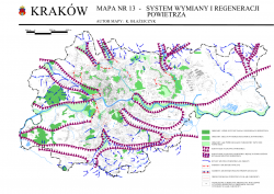 zanieczyszczenie Krakowa - mapa przewietrzania (kliny napowietrzające)